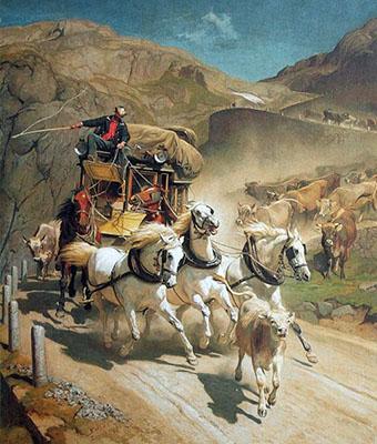 Gemälde: Postkutsche im rasenden Tempo in den Bergen
