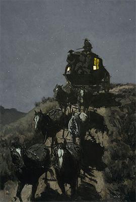 Gemälde: Nachtfahrt einer texanischen Postkutsche in der Prärie