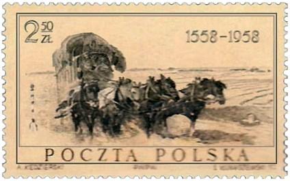 Briefmarke: Vierspänner-Postkutsche auf Feldweg