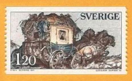 Briefmarke: voll beladene Dreispänner- Postkutsche
