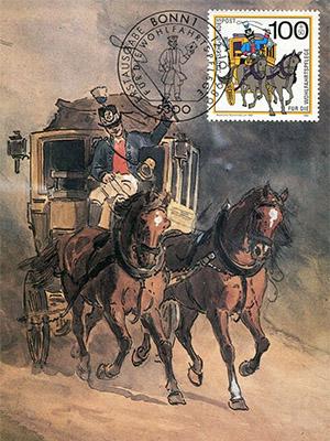 Bildkarte: Zweispänner-Postkutsche mit großer Fahrgastkabine