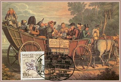 Bildkarte: große Postkutsche aus Korbgeflecht mit vielen Reisenden
