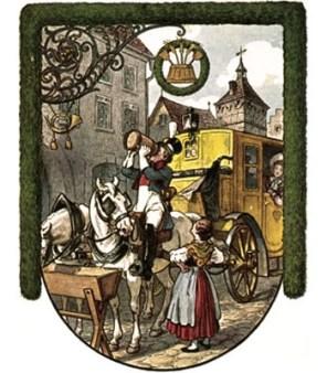 Farblitho: Postkutsche vor einer Schenke, Pferde trinken und Postillion leert großen Bierhumpen