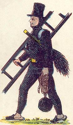 alte Illustration: Kaminfeger mit Leiter und Arbeitsgeräten unterwegs