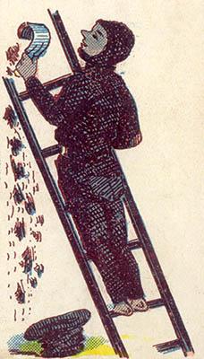 alte Illustration: Kaminkehrer kratzt Ruß ab
