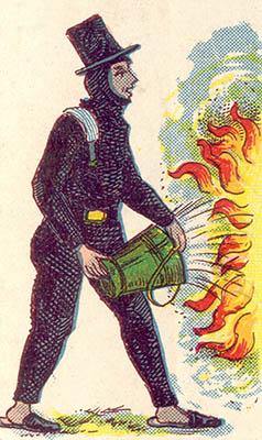 alte Illustration: Schornsteinfeger löscht Feuer