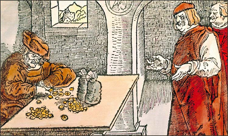 kolorierter Holzschnitt: am Tisch sitzender Wechsler tauscht Kaufleuten Münzen um