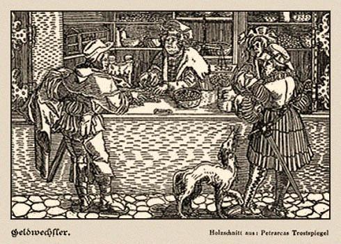 Holzschnitt: 3 Herren u. Hund in einer Wechselstube - 1532