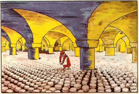 illu: viele runde Käselaibe liegen auf dem Boden eines Gewölbekellers