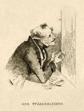 sw Federlitho: Pfänderleiher begutachtet Uhren - 1860