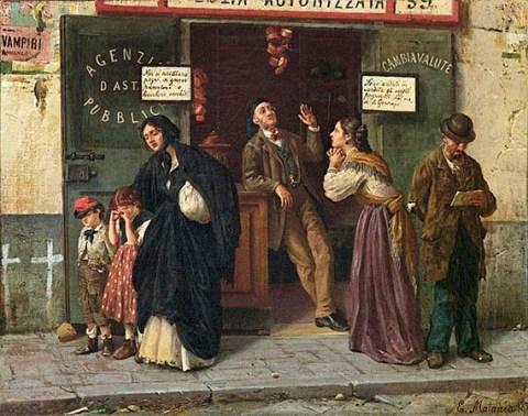 Gemälde: Arme Leute vor geschlossenem Pfandhaus - 1875, Italien