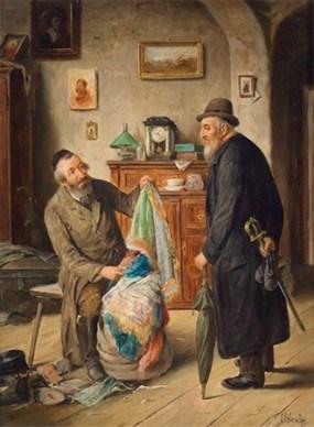 Gemälde: Alter zeigt jüd. Verleiher diverse Habseligkeiten - 1880, Österr.