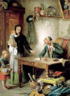 Gemälde: arme Frau mit Kindern will Taschenuhr versetzen - 1900