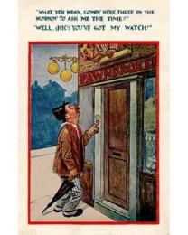 Humor-Postkarte: Mann klingelt nachts beim Pfandleiher - 1910, Engl.
