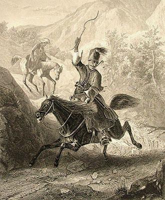 Stahlstich: türkischer Bote galoppiert Bergweg hinab - 1840