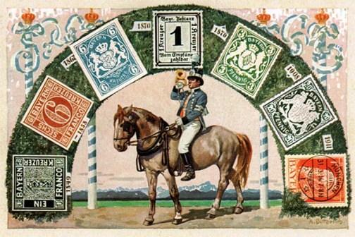 gemalte Postkarte