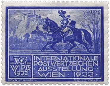 Marke mit über Land reitendem Boten - 1933, Österreich
