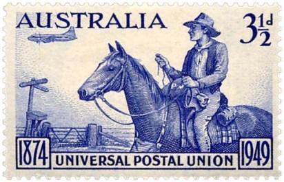 Briefmarke (1949, Australien): Postreiter auf dem Land