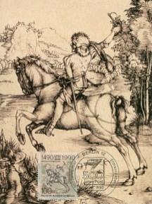 Karte + Marke mit Kupferstich von Dürer