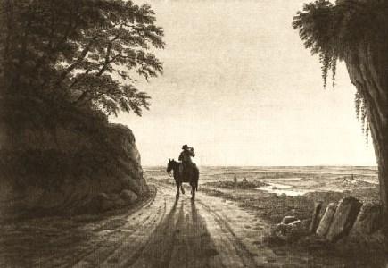 Stahlstich: Bote reitet in den Sonnenaufgang