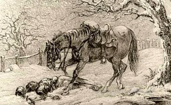 Kohlezeichnung: Pferd über den im Schnee liegenden Toten gebeugt - 1860