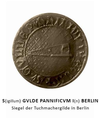Rundsiegel: mittig Weberschiff auf gemustertem Tuch / umlaufender Text: S(igillum) GVLDE PANNIFICV(m) I(n) BERLIN - 1442