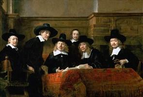 Gemälde: 6 vornehm gekleidete Zunftmeister beraten sich um einen Tisch versammelt