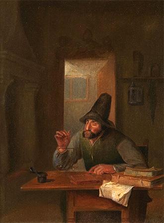 Gemälde: Mann mit kl. Münzwaage an Tisch mit Rechnungsbüchern - 17. Jh