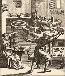 Kupferstich: zwei Männer und eine Frau stellen Pressknöpfe her