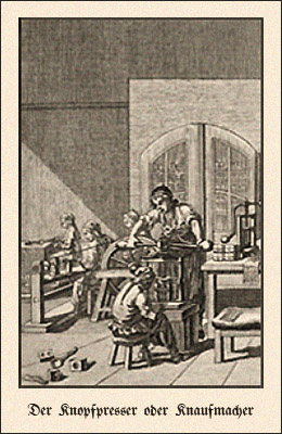 Kupferstich: Meister an Knopfpresse u. anderweitig beschäftigte Gehilfen