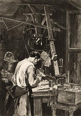 Litho: Knopfmacher in der Werkstatt