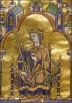 Miniatur mit Goldauflage: Der heilige Ludwig mit Krone und Zepter