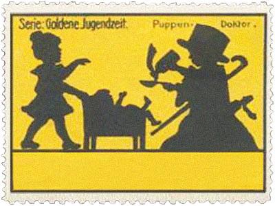 Reklamemarke: Puppendoktor als Silhouettenbild - um 1920