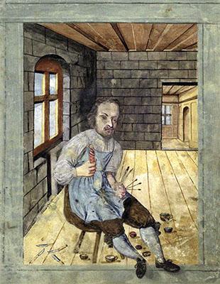 Buchmalerei: Bruder bemalt eine Docke - 1654