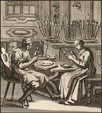 Kupferstich: Mann u. Frau schnitzen u. bemalen Docken - 1698