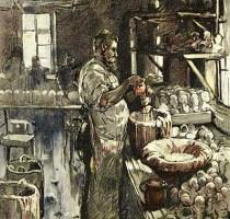 teilkolorierter Holzstich: Puppenmacher wachst Puppenköpfe in seiner Werkstatt - 1895