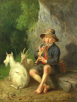 Gemälde: Kleiner Ziegenhirte mit Flöte