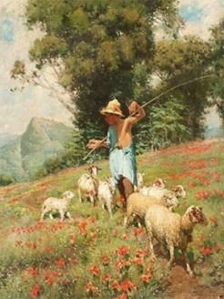 Gemälde: Hütejunge mit Ziegen auf Blumenwiese unterwegs - 1900, Italien