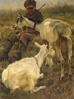 Gemälde: Hütejunge auf Wiese bei den Ziegen sitzend