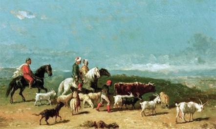 Gemälde: Ziegenherde in weiter Landschaft - 1890, Arabien