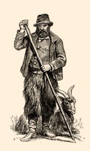 Holzstich: Ziegenhirte mit Ziegenbock