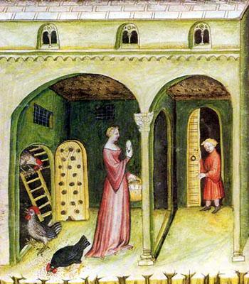 Buchmalerei: Hühner in Stall mit Hühnerleiter unter Bogengang - 1390