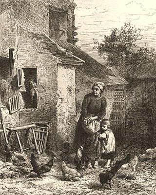 Kupferstich: Frau mit Kind bei den Hühnern - 1864, Frankr.