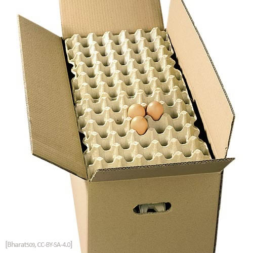 Farbfoto: Karton mit Papppaletten