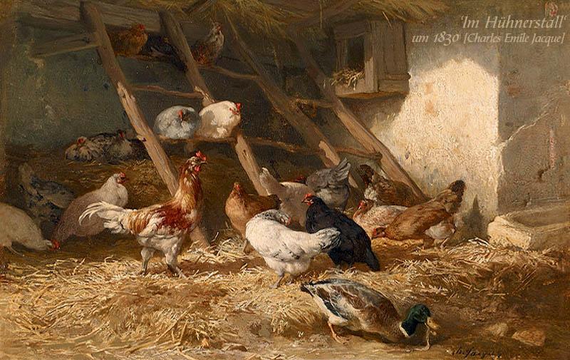 Gemälde: Im Hühnerstall - um 1830, Frankreich