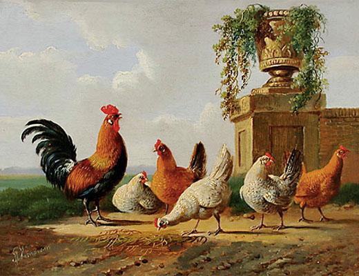 Gemälde: Hahn und Hühner im Freien - 1850, Niederlande