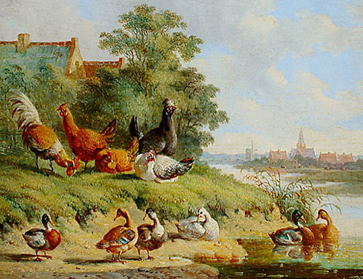 Gemälde: Geflügel am Fluss - 1850, Niederlande