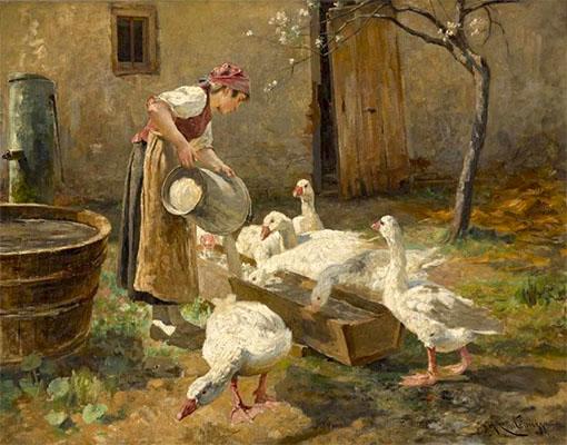 Gemälde: Bäuerin füllt Wasser in Gänsetränke - 1870