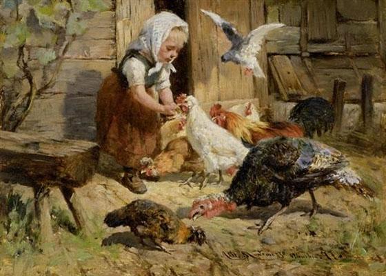 Gemälde: kl. Mädel inmitten von Federvieh - 1877