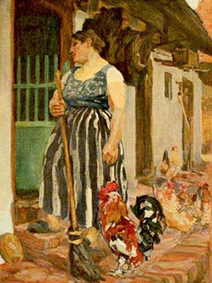 Gemälde: Frau Nachbarin nebst Hühner ~1910